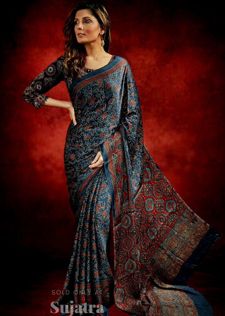 Exclusive dark blue block printed Ajrakh modal silk saree