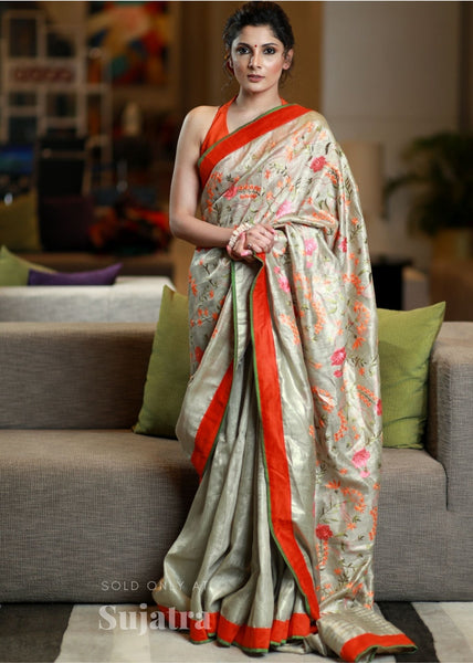 Exclusive embroidered silk linen saree