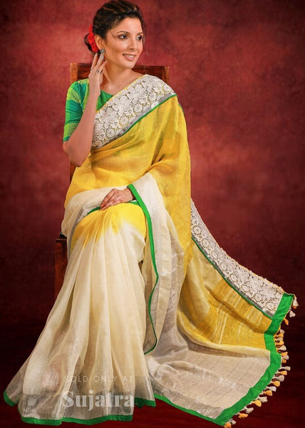 Pure linen tie & dye saree with exclusive lace border