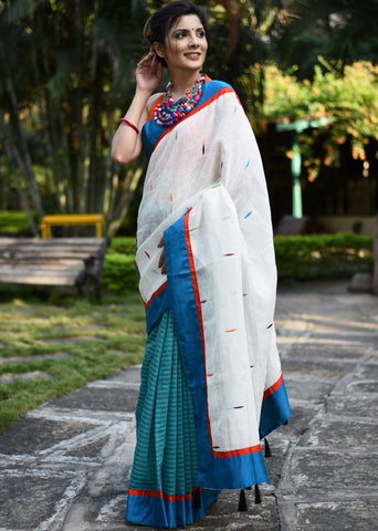 Exclusive white linen with multicolor buta & striped chanderi pleats