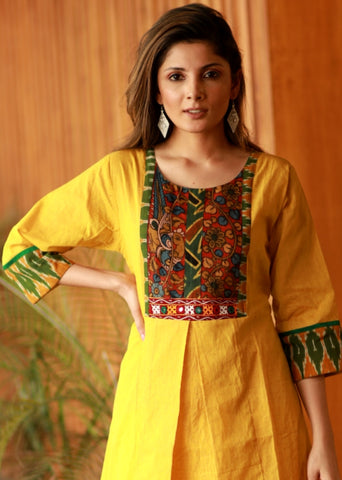 A-line Yellow cotton Handloom kurta with Hand painted Kalamkari and Kutch mirror work and ikkat combination