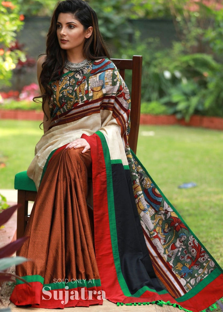 Exclusive hand painted kalamkari & khun combination saree with tussar silk - Sujatra