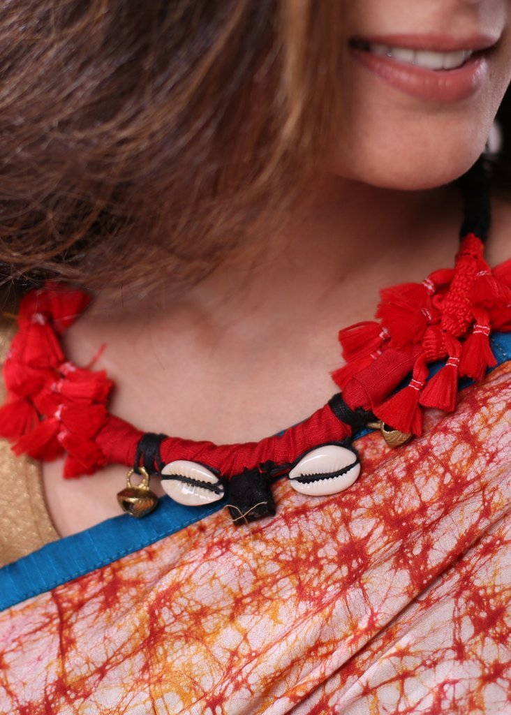 Handmade red and black tassels, cowrie neckpiece - Sujatra