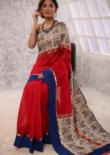 Red Chanderi saree with dabu printed border & patch on pallu - Sujatra