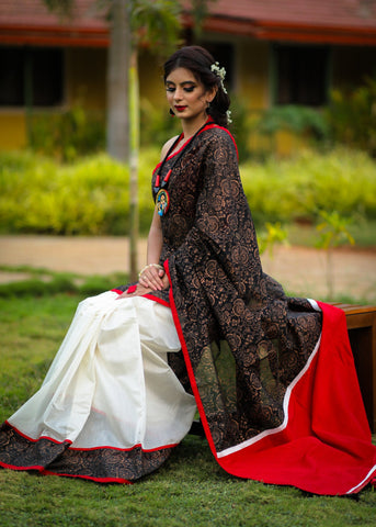 Block printed black and white combination chanderi saree with copper print