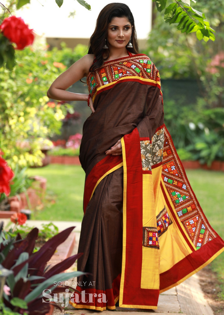 Brown handloom cotton saree with exclusive kutch mirror work - Sujatra