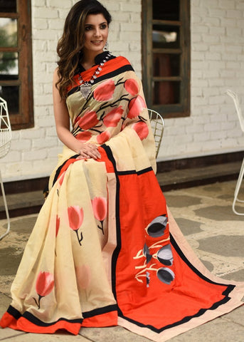 Exclusive free hand painted saree on beige chanderi saree with cottton silk pallu