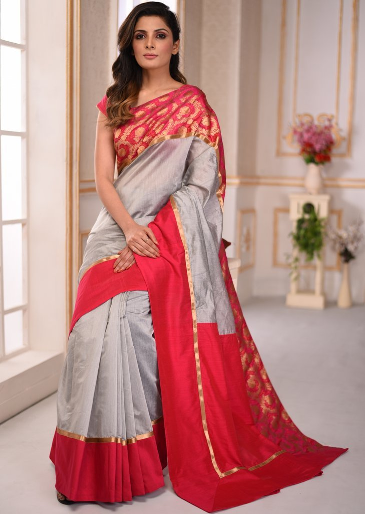 Grey chanderi saree with benarasi border - Sujatra
