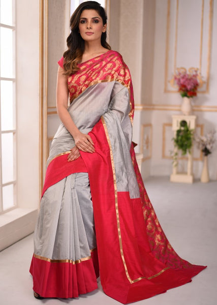 Grey chanderi saree with benarasi border