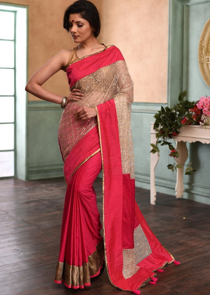 Pink cotton silk saree with exclusive net work combination