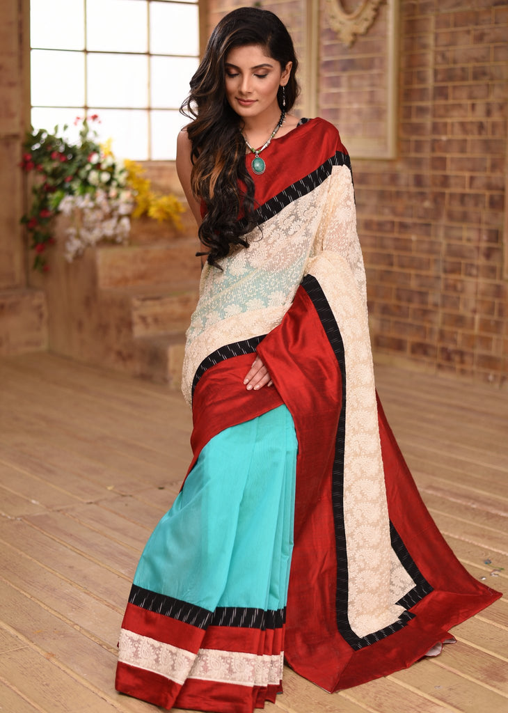 Exclusive embroidered saree with blue chanderi pleats combination & ikat border