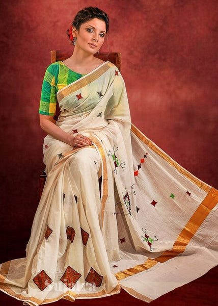 Exclusive cotton saree with designer embroidered motifs