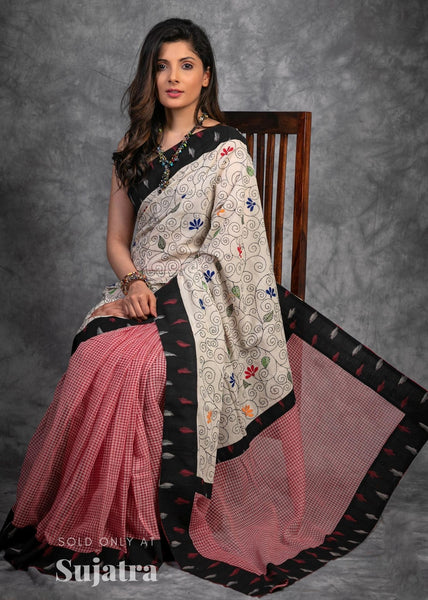 Exclusive embroidered bengal handloom cotton saree with ikat border