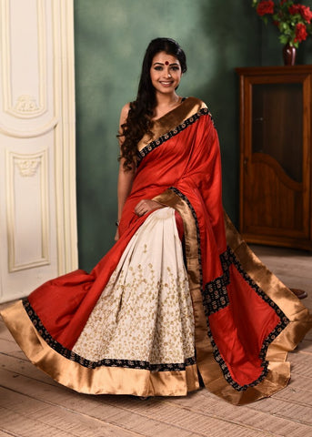 Exclusive Red semi silk and embroidered off white pleats combination saree