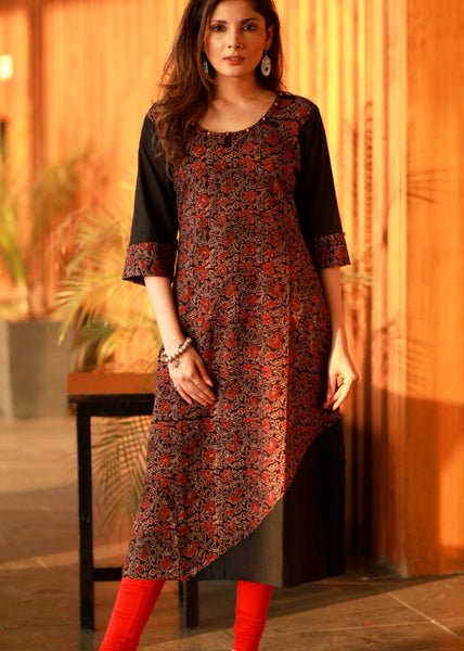A-line  Ajrakh cotton  combination kurta