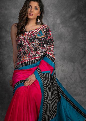Pink crepe satin saree with ikat & hand painted Madhubani painting