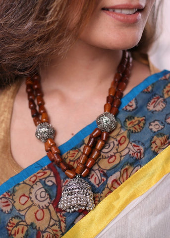 Exclusive wooden beads and german silver pendant neckpiece