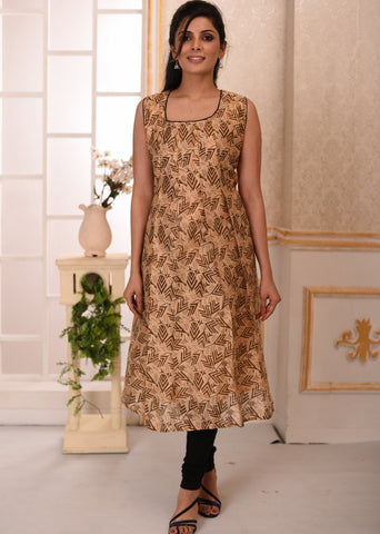 Exclusive printed chanderi sleevless kurti