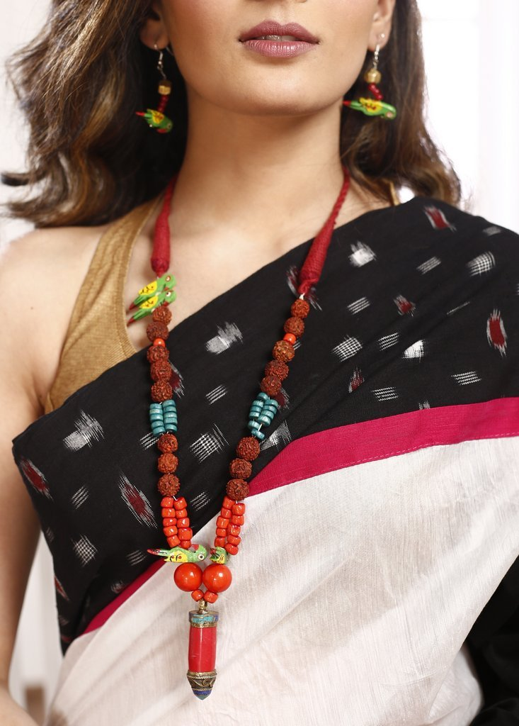 Rudraksha beads combined with multi coloured beads & wooden parrot  with Ladakh pendant Necklace