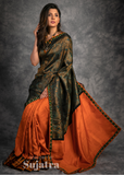 Exclusive Benarasi designer saree with crepe satin pleats