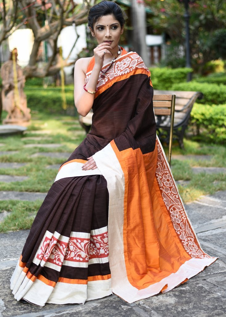 Brown striped chanderi with hand batik border - Sujatra