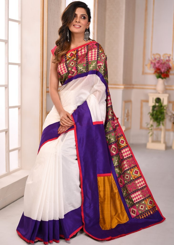 White chanderi saree with exclusive embroidered border