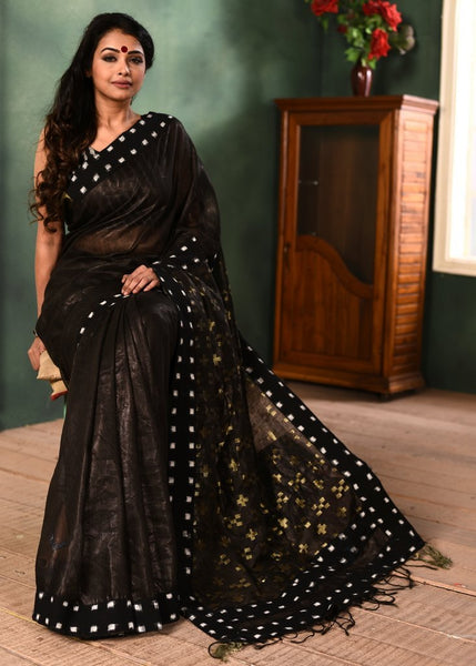 EXCLUSIVE PURE TISSUE LINEN SAREE WITH IKAT BORDER
