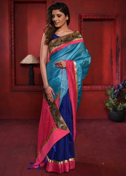 Blue pure silk with navy blue chanderi pleats with exclusive zari border - Sujatra