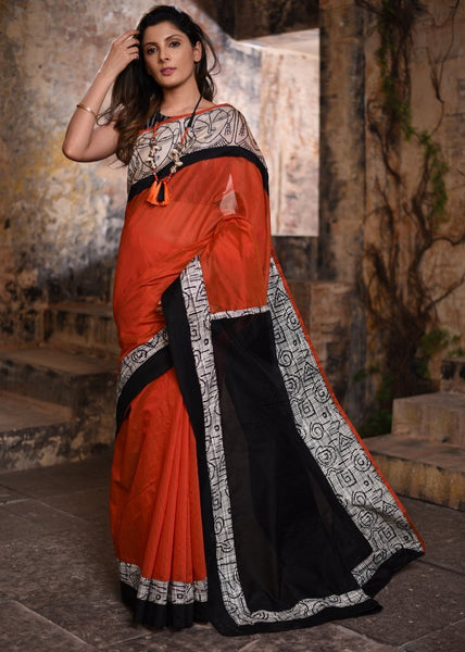Orange chanderi with abstract printed border