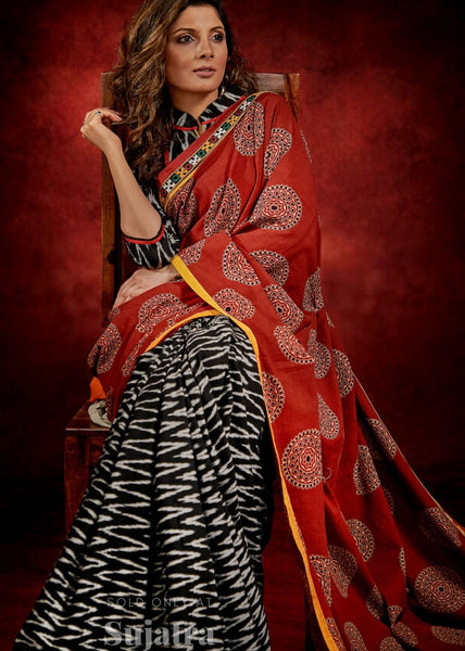 Ajrakh block print & ikat combination saree with kutch mirror work