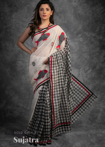Exclusive fish motifs embroidered bengal handloom cotton saree