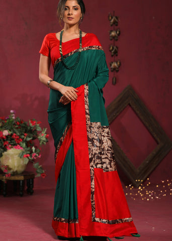 Forest Green French crepe saree with hand batik combination