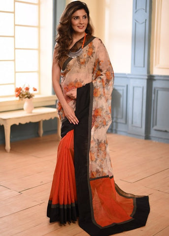 Exclusive floral printed saree with orange chanderi pleats