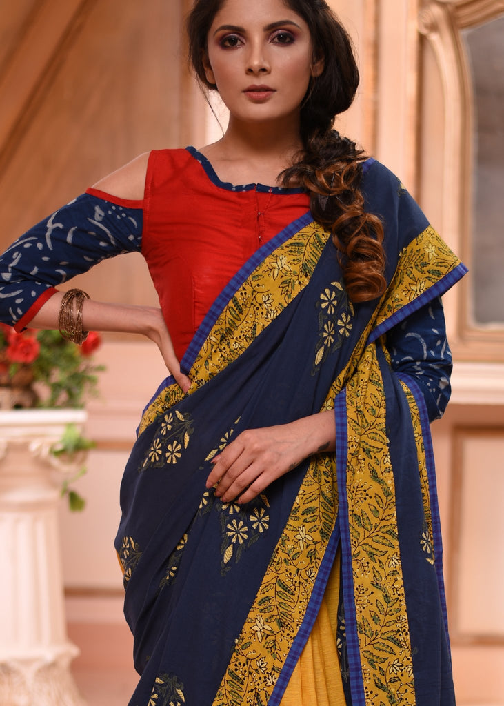 Exclusive block printed Indigo saree with mustard handloom cotton pleats & contrast red BP - Sujatra