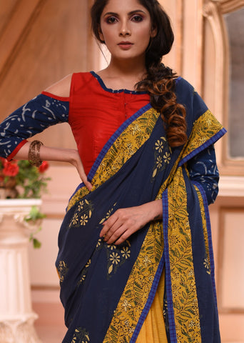 Exclusive block printed Indigo saree with mustard handloom cotton pleats & contrast red BP