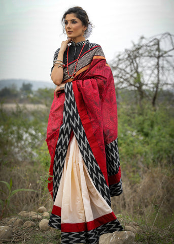 Exclusive block printed chanderi & beige chanderi combination saree with ikat border