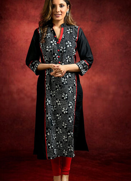 Black Combination Printed Kurta
