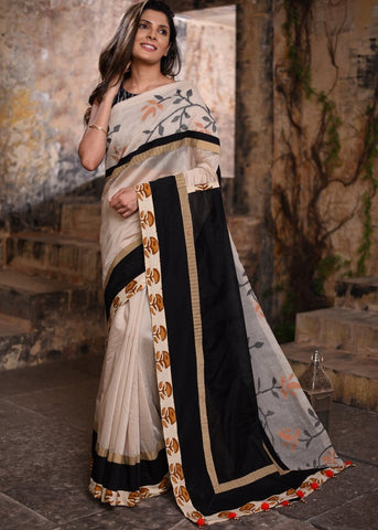 Beige chanderi saree with exclusive jamdani border & cotton silk pallu