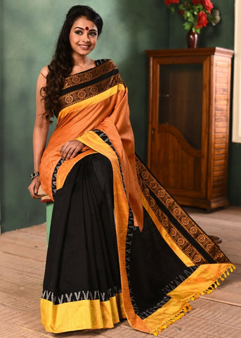 Orange semi silk saree with black chanderi combination & exclusive sambalpuri & ikat border