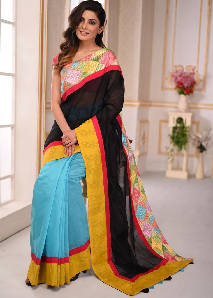 Black & blue combination chanderi saree with phulkari work border