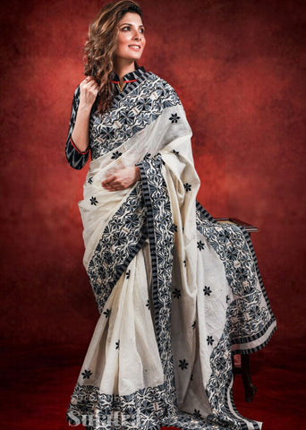 Exclusive bengal handloom cotton heavy embroidred saree