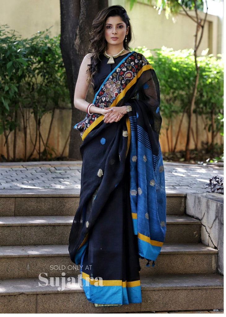 Pure linen saree with hand painted kalamkari border & buta - Sujatra