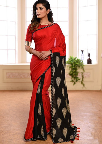 Exclusive red muslin saree with printed handloom cotton pallu