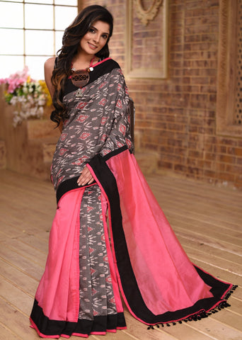 Exclusive double ikat & pink chanderi combination desinger saree