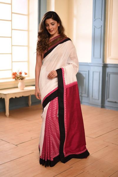 White chanderi with pink ikat combination on pleats - Sujatra