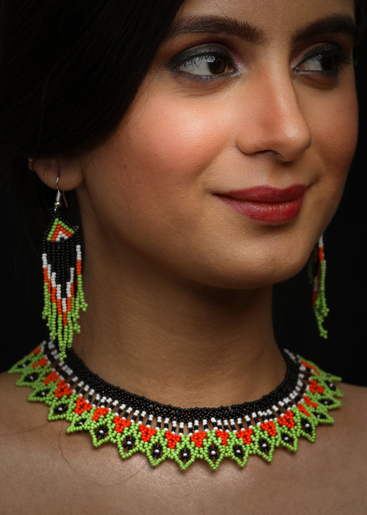 Neon green & orange seed bead choker with earrings
