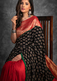 Exclusive block printed saree with Benarasi combination & cotton silk pleats