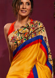 Fine linen cotton mix saree with hand painted madhubani work - Sujatra