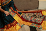 Exclusive khun saree with hand painted madhubani combination pallu and border