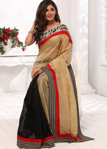 Beige and black chanderi saree with abstract printed border - Sujatra